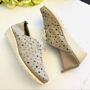 The Flexx tan suede laser cut dots wedge shoes 7
